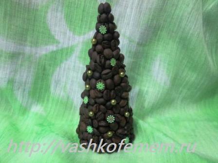 новогодняя елочка из кофейных зерен 12