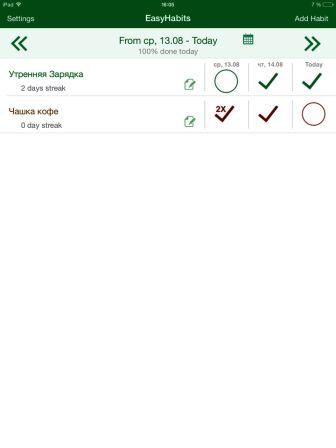приложение к iPad tfsyhabits hb dayly